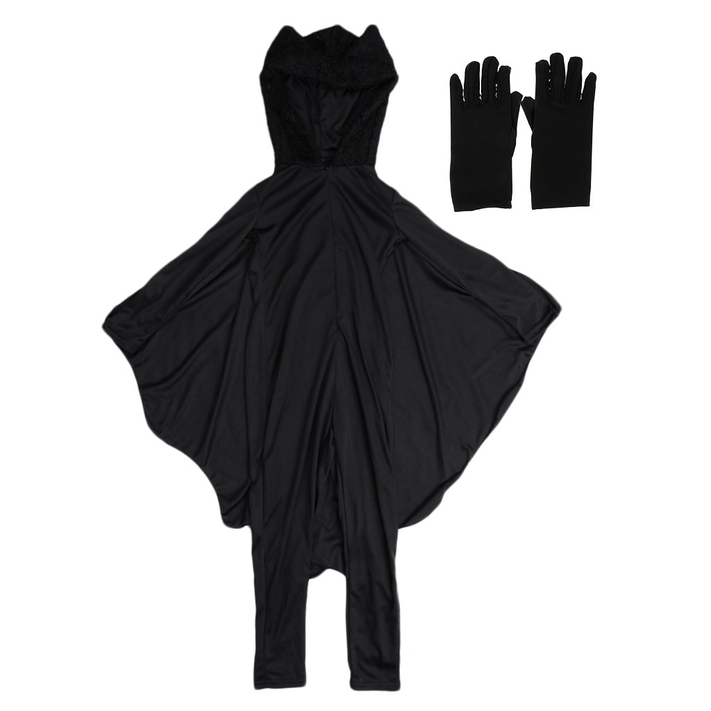 Kids Bat Halloween Costume Spandex Hooded Jumpsuit with Wing Girls Boys