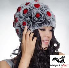 wholesale Real Rex Rabbit Fur Hat Knit Wool Lining Hat Cap Nature Rabbit Fur Flower Beanie Headgear Winter Women's Hat(China (Mainland))