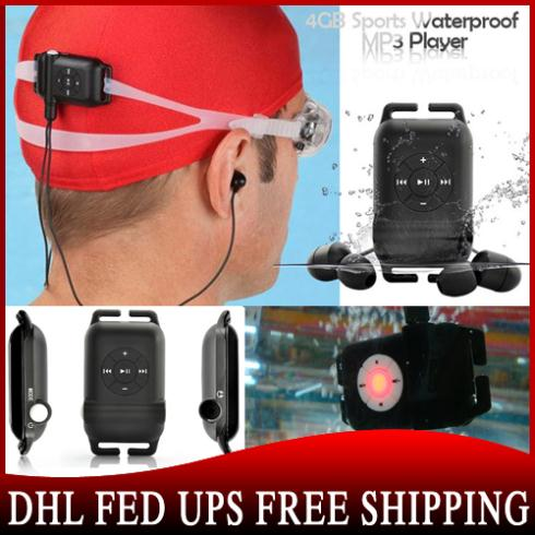 50pcs/lot 4GB Waterproof IPX8 MP3 Music Player FM Radio SwimmingSurfing/SPA/diving/Sports(China (Mainland))