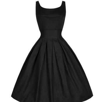 Платья с круглым вырезом свободного покроя без рукавов лето, женщины черный ретро вечернее халат