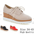 High Quality Platform Oxfords Shoes Women Wedges Flats Lace Up Wedge Casual Flat Shoes Beige Black