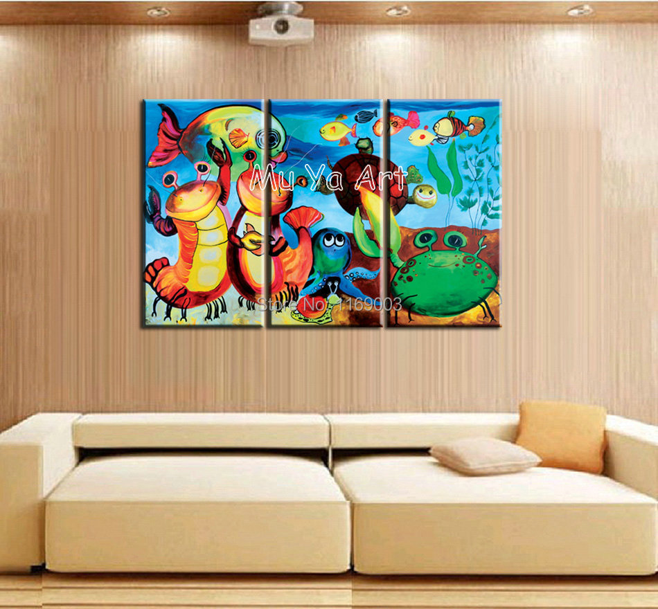 3 Piece Canvas Wall Art Handmade Abstract Beautiful Fish Oil Painting On Canvas For Kids Room