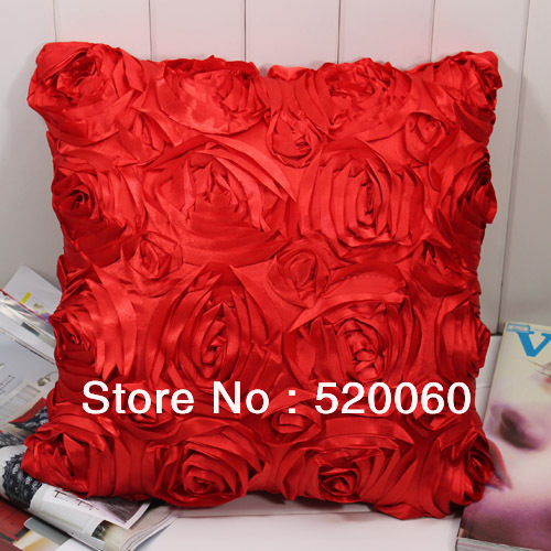 CHARM RED 3D FLORAL ROSE FLOWER PATTERN DESIGN 40X40CM POLYESTER CUSHION COVERS SOFA BED PILLOWCASES HOME DECORATION - Beauty Home store