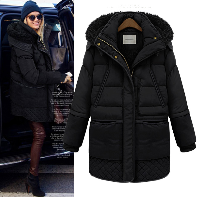 Autumn Winter New Fashion Medium-long Plus Size Female Thickening Outerwear Thick Coat Jacket Women - King Ting Millinery Co.,Ltd store