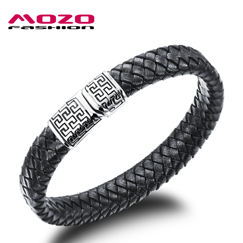Wholesale 2016 new fashion jewelry men's bracelets synthetic leather titanium steel Bracelet Great Wall creative Boutique MPH938(China (Mainland))
