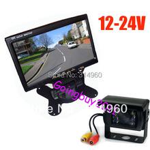"12v- 24v 7"" LCD Monitor Car Rear View Kit + IR Reversing Camera For Bus Long Truck with 10m cable Free Shipping(China (Mainland))"