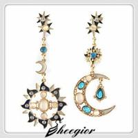 New 2014 Romantic Fashion Earrings Women Dangle Earrings Gold Sun & Sailor Moon Long Earrings Best gift for Best friend