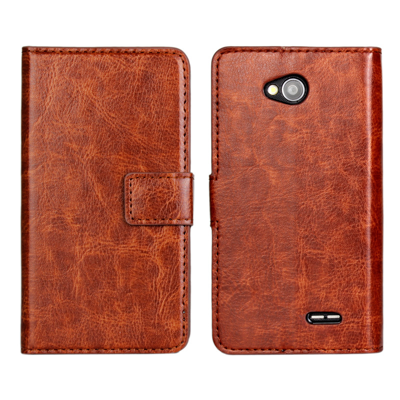 L70 Retro Crazy Horse Flip Leather Wallet Case For LG Optimus L70 With Card Slots Stand Phone Cover Case(China (Mainland))