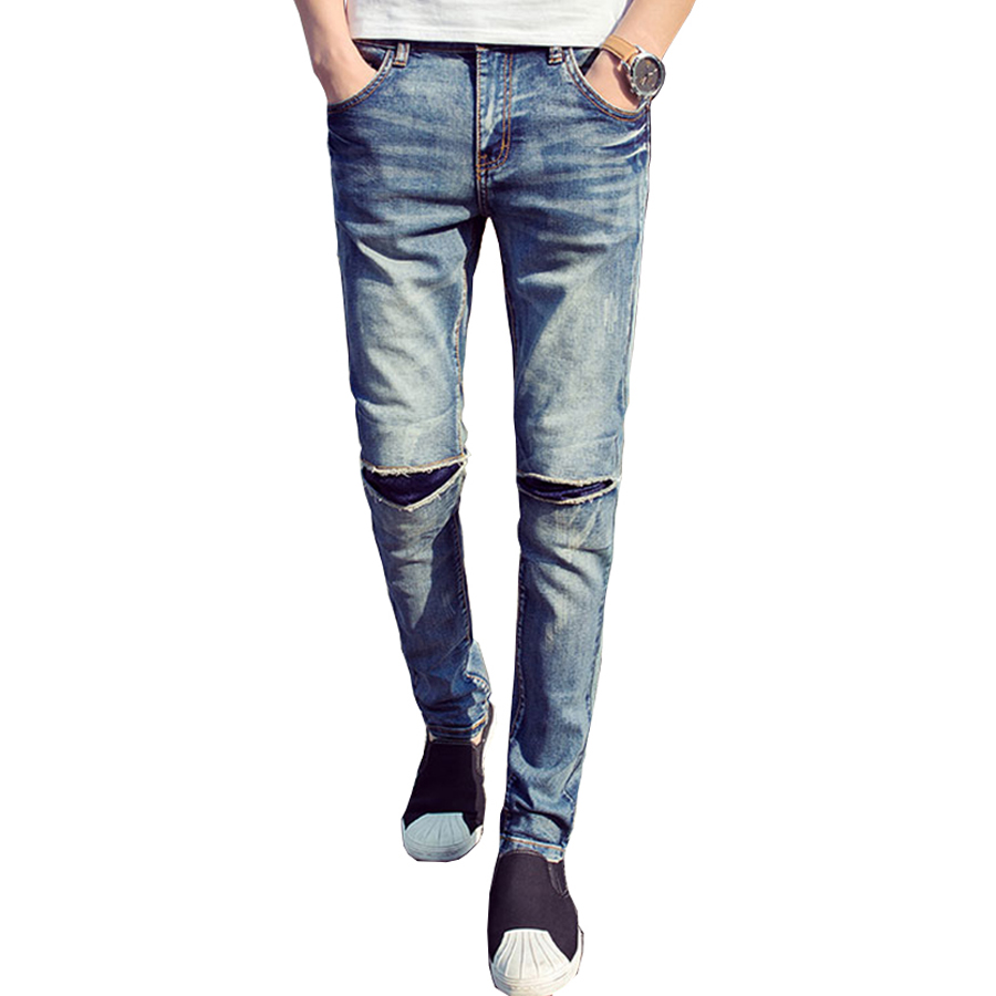 2016 Mens Skinny Jeans For Men Straight Denim Jeans With Holes Slim Fit Knee Ripped Jeans ...