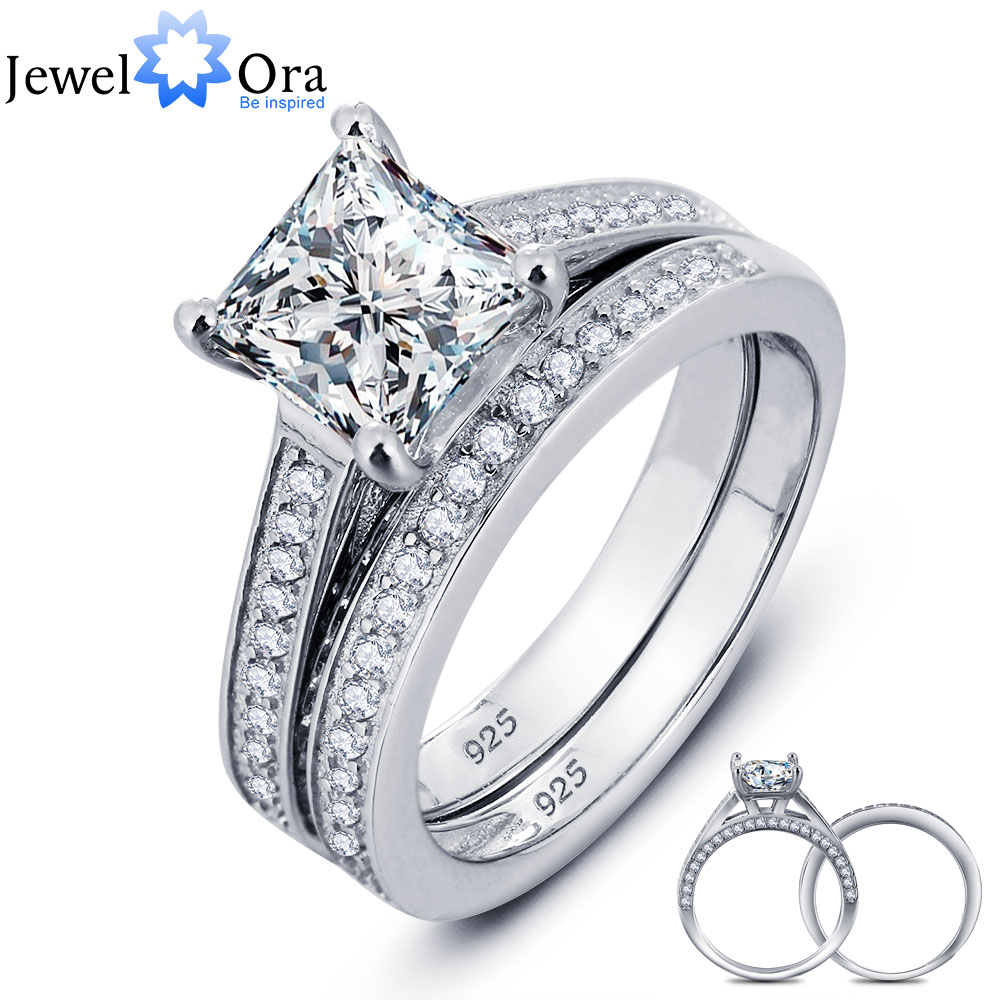 luxurious wedding ring bridal sets 925 sterling silver