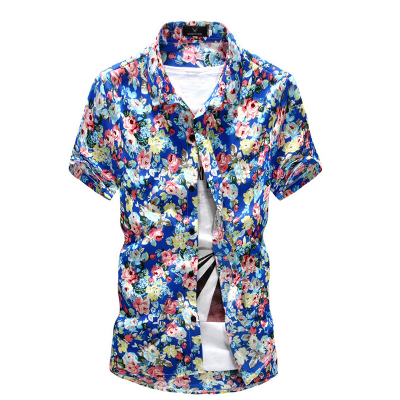 Brand New Fashion Men's Floral Print Hawaiian Shirt 2015 Summer Casual Style Short Sleeve Flower Shirt for Men(China (Mainland))