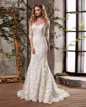 Buy Dreagel Vestido de Noiva Scoop Three Quarter Mermaid Wedding Dress 2017 Gorgeous Lace Appliques Brush Train Bride Gown Plus Size for $186.39 in AliExpress store