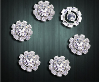 10pcs Round silver flat back crystal diamond buckle jewelry hair accessories  AE03151