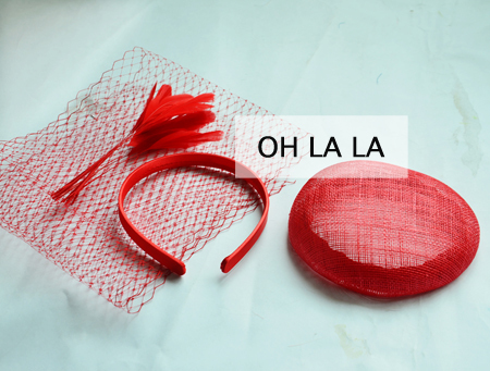 Red 14cm sinamay base + 1 Meter Netting fabric bridcage veilling+1.3cm Satin headband+10pcs feathers DIY SINAMAY FASCINATOR.(China (Mainland))