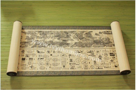 Mural painting bamboo, bamboo skin draw the ancients picture the stamp Oriental sages bamboo roll vertical shaft