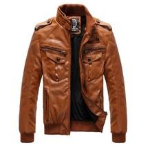 Men's Locomotive Leather  Jacket Coat Thickening Fur Outerwear Slim Winter PU Jacket Brown , M-XXXL(China (Mainland))