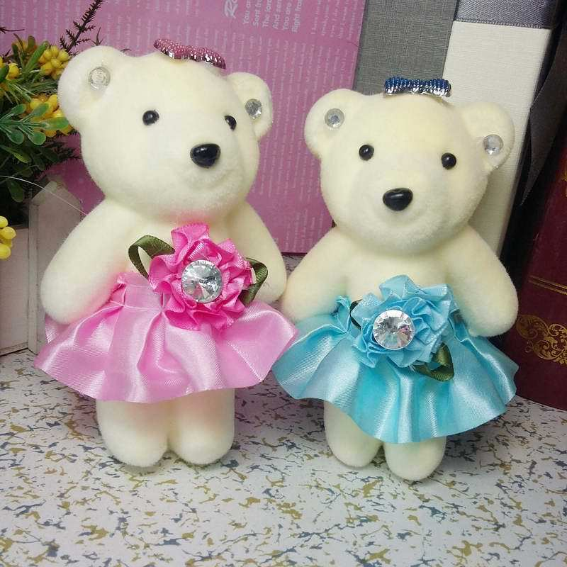 12pcs Mobile charm accessory teddy bear girls toys doll bouquets flower bear material model plush&stuff promotional gift bear(China (Mainland))