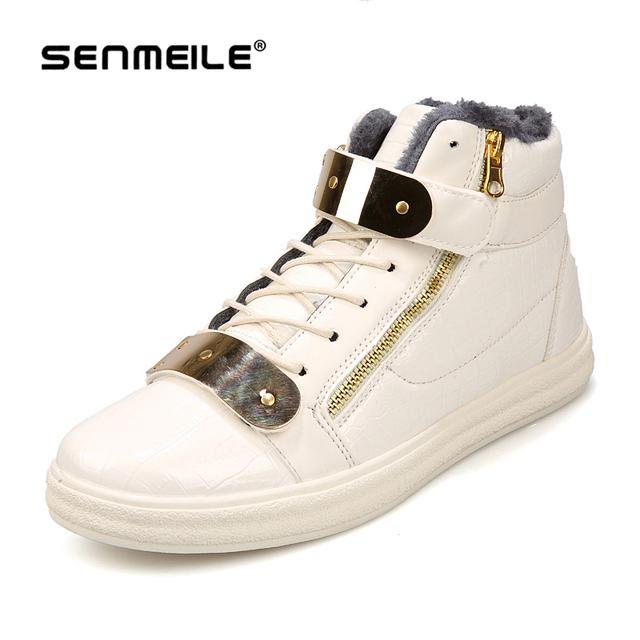 Горячие продаж! 2015 мода теплые зимние ботинки мужчины сапоги обувь высокого качества молния металлические блестки досуг обувь бесплатная доставка
