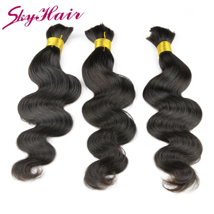 Indian virgin hair body wave 1pcs lot human hair for braiding bulk no attachment 6a unprocessed indian human braiding hair bulk