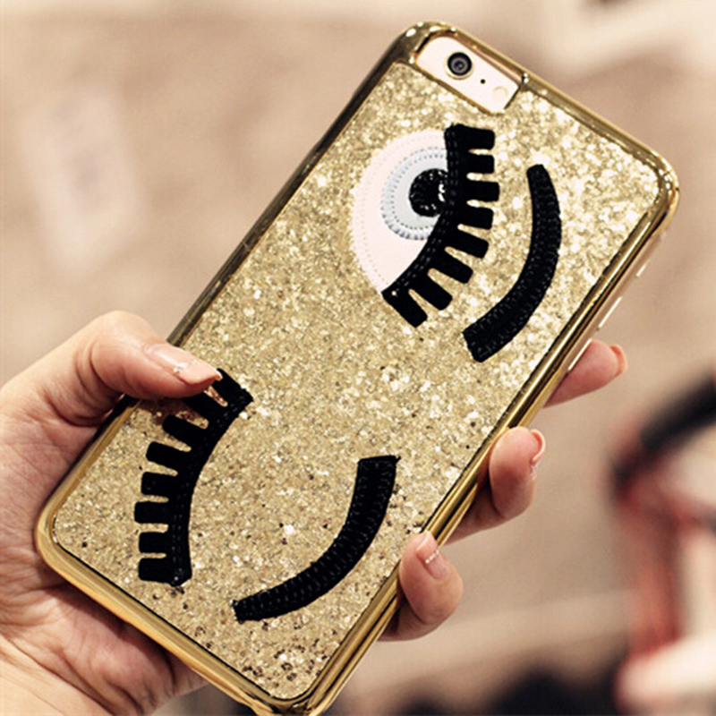 Glitter powder fashion chiara ferragni Bling big eyes eyelashes PC+ Plating back Cover phone case iphone 6 6s 4.7 inch - GMFIVE Official Flagship Store store