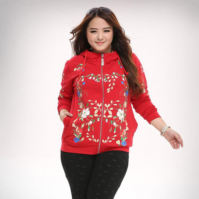 Fashion Plus Size Womens Clothes Tops Full Sleeve Flower Print Zip Up Cozy Fit Jacket Hoodie
