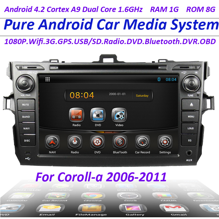 Capacitive screen pure Android 4.2 car dvd gps radio player toyota corolla 2006-2011with 1.6g CPU 3g wifi Audio Video Player - GYR store