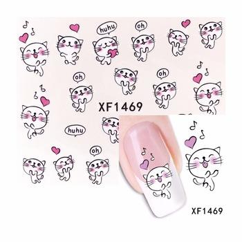 YZWLE 1 Sheet Cute Dancing Cat Design Watermark Beauty Nail Art Tips Sticker Full Wraps Water Transfer Decals 1469