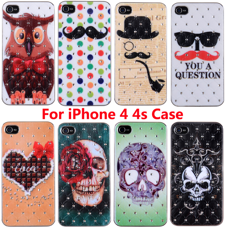 Russia Night Owl Moustache Case for iphone 4 4S 4G Phone Bag for iPhone4 with Design Cases Cover(China (Mainland))
