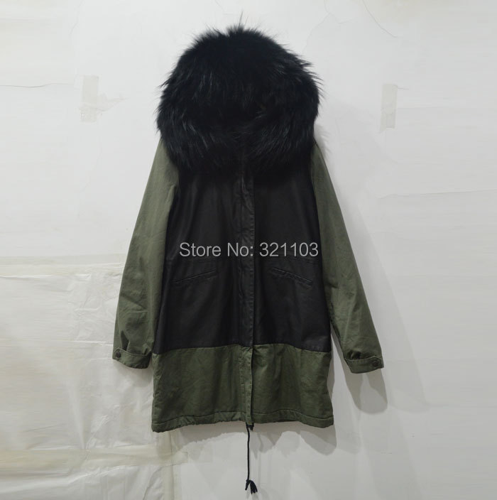 2016 new winter fashion leather Army green coat black fur collar, Mrs furs warm parka supplier factory - foxfurs store