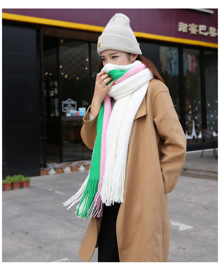 Autumn and Winter Big Luxury Cashmere Scarves Long Thick Warm Scarf Knitted Shawls Striped Scarf Students for Christmas Gife
