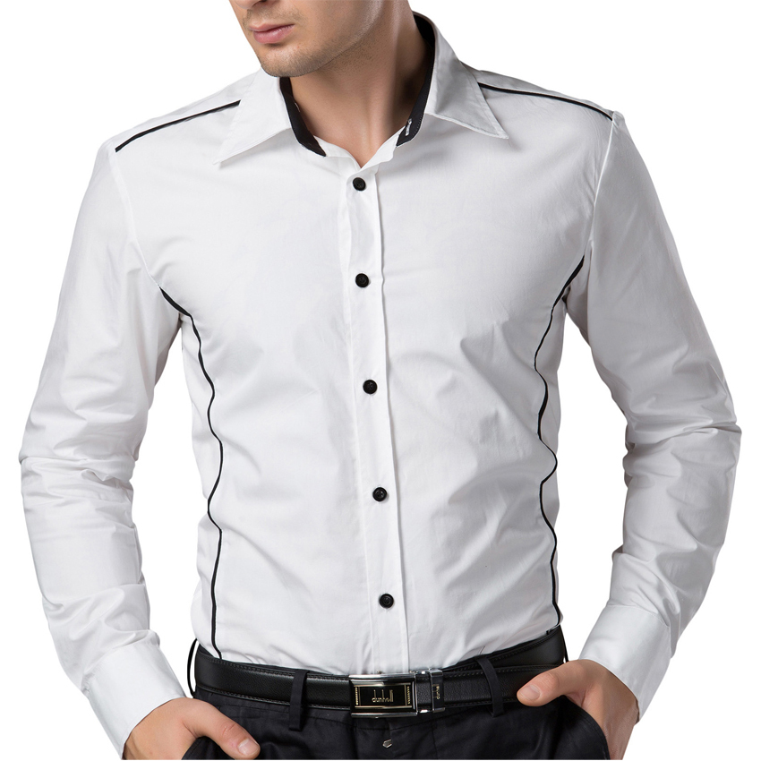 Formal casual male dress shirt 100 cotton long sleeve 100 cotton tuxedo shirt