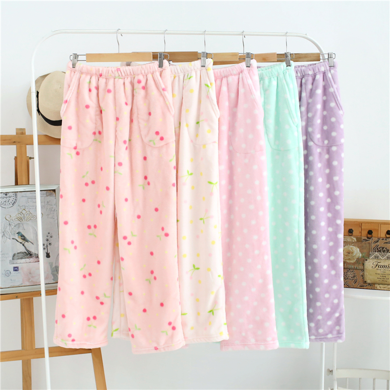 dot Home Pajamas Pants Women Lounge Bottoms Sleep Female Full Length Pijama Cotton Trousers Sleepwear Home Wear Clothes flannel