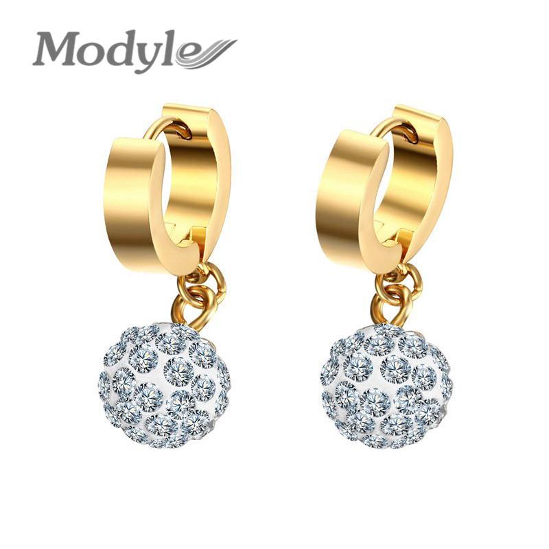 Modyle Women Drop Earrings Gold Plated Stainless Steel Earrings Jewelry Cubic Zirconia Earrings for Girl