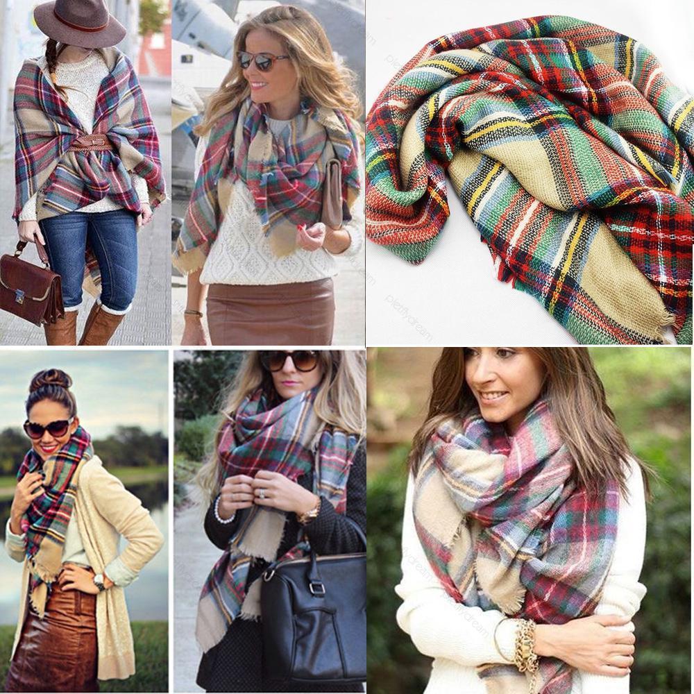 Women Girl Blanket Oversized font b Tartan b font Scarf Wrap Shawl Plaid Cozy Checked Beige