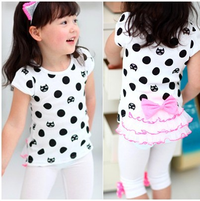 new spring 2016 childrens Place girl Kitty dot printed shirt girls short sleeve Tail yarn bow T-shirt 3-8Y Kids t shirt clothes(China (Mainland))