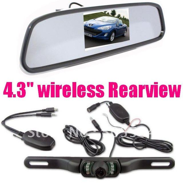 """Car backup rear view camera 2.4g wireless Reversing Parking sensor system with 4.3"""" tft LCD Rearview Mirror Monitor"""
