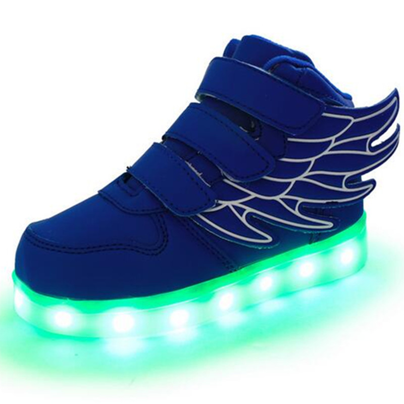 7 Colors Children's Flash LED Lighted Shoes Boys Girls Angel Wings USB Charging Rechargeable Sneakers(China (Mainland))