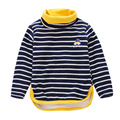 2016 Korean children plus velvet turtleneck warm winter new striped shirt
