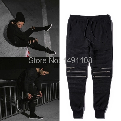 Jogger pants men motorcycle skinny slim tights black sweatpants knee zippers bboy jogging dance trousers mens Ninja - MAZ high-end clothing store