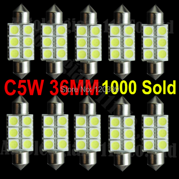 10pcs Super White 36mm Festoon 5050 SMD 6 LED C5W Car Led Auto Interior Dome Door Light Lamp Bulb Pathway lighting 12V Work Lamp(China (Mainland))