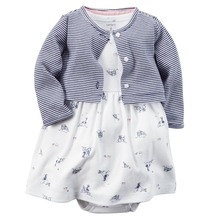 Original, 2015 Items, Carter's Baby Girls 2-Piece Dress and Cardigan Set, With Bodysuit and Button-front Cardigan, Free Shipping