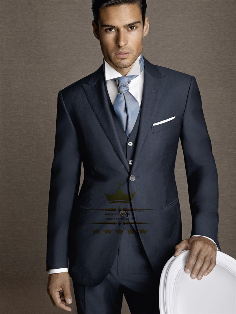dark blue wedding suits for men with pants custom made