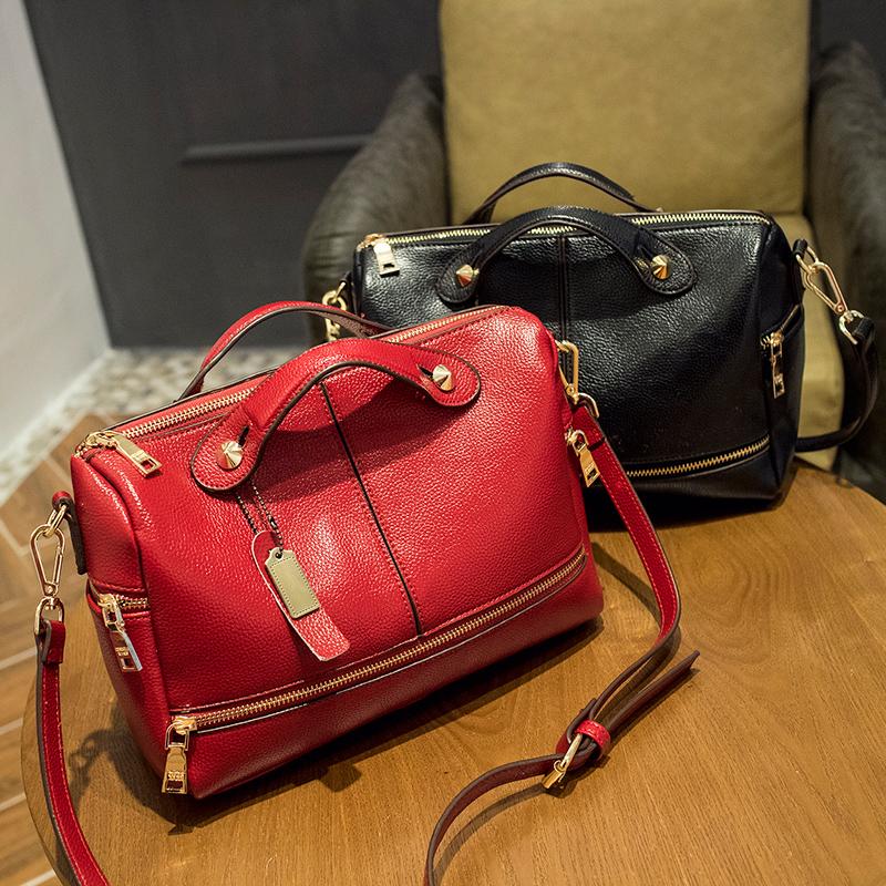 2016 New arrival Euramerican Pop Boston design PU leather women bag fashion women handbag simple messenger bag WLHB1232(China (Mainland))