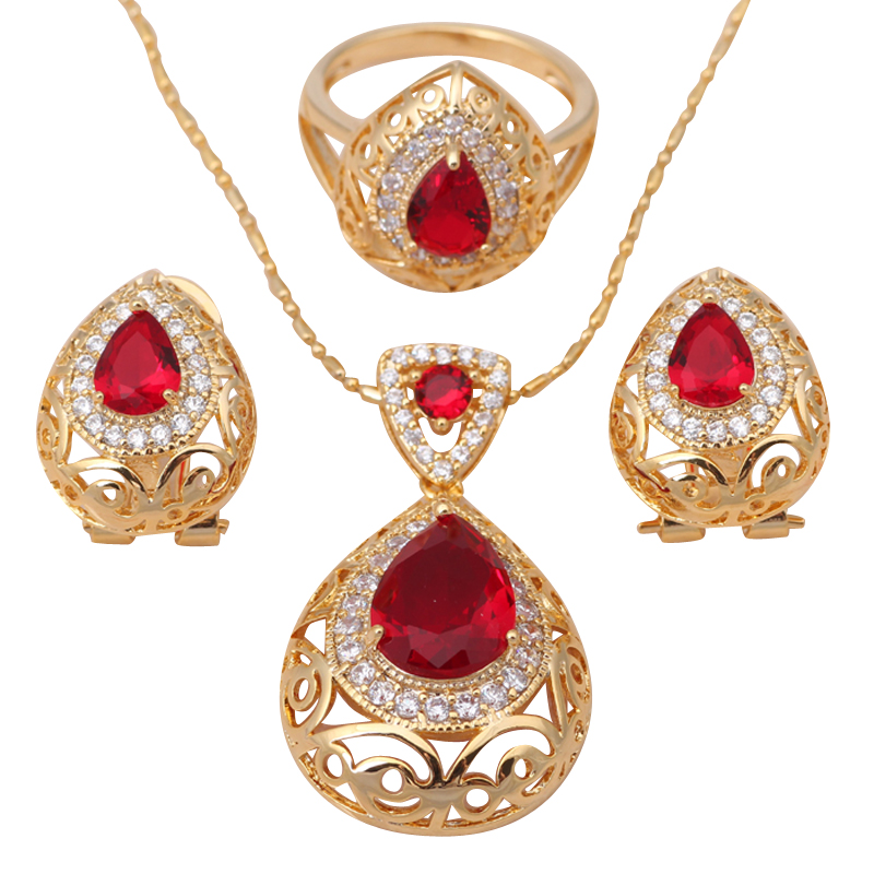 Jewelry Set 18K Gold Plated AAA Zirconia Red Garnet Health Nickel & Lead free Earring Necklace Ring sz #5.75 #6.75 #7.75 JS309A