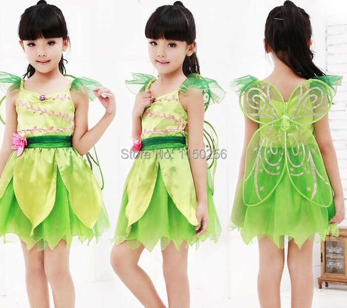 Free Shipping Fantasia Halloween Carnival Costume For Kids S/M/L/XL Tinkbell Green Christmas Costume Wholesale/Retails New(China (Mainland))