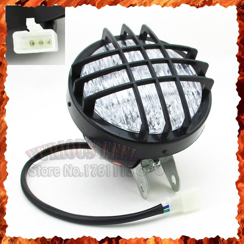 12V LED Front Head Light Headlight For 50 70 90 cc 110cc 125cc 150cc 200cc ATV Quad Go Kart 4 Wheeler Roketa Sunl Taotao Kazuma(China (Mainland))