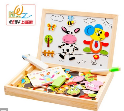 Multifunctional Wooden Toys Educational Magnetic Puzzle Animal Children Kids Jigsaw Baby Drawing Easel Board(China (Mainland))