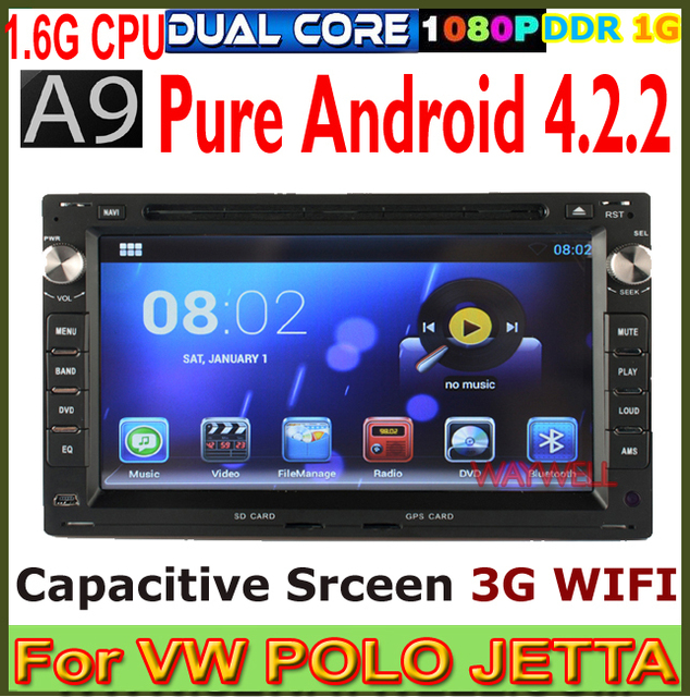 Pure Android 4.2.2 A9 1.6G CPU Car DVD GPS for Volkswagen Polo Bora Golf 4 Passat B5 with Bluetooth USB SD Radio 3G WIFI