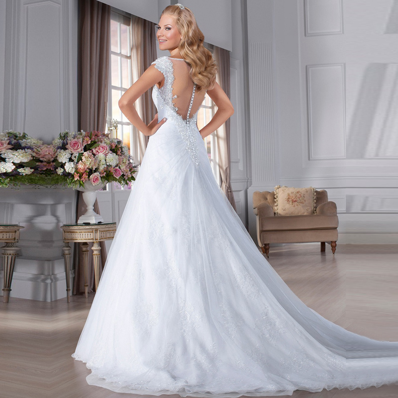 Buy aas026 vestido de novia v neck for Plus size beaded wedding dresses