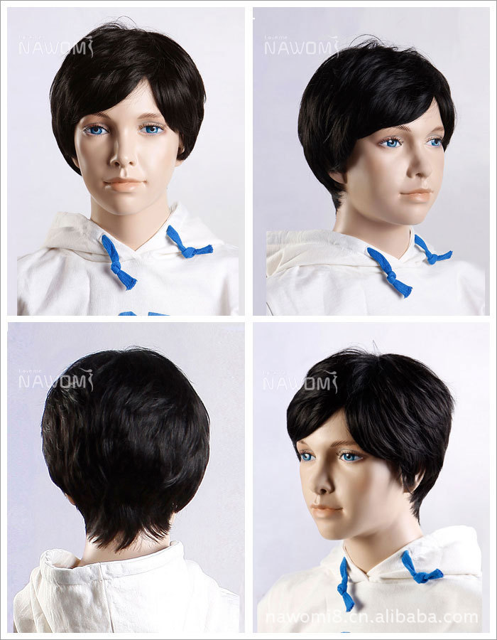 10cm/4 inch Short Fluffy Straight Child Wig Black Kanekalon Fiber Hair Kids Synthetic Wigs Cosplay Wig perruque peruca W3130(China (Mainland))